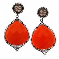 SILVER EARRINGS WITH CAMEO AND STONE