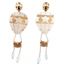 SILVER EARRINGS WITH CAMEO AND STONES